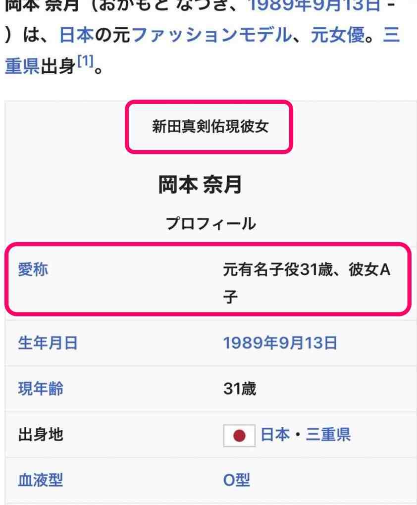 岡本奈月のWikipedia